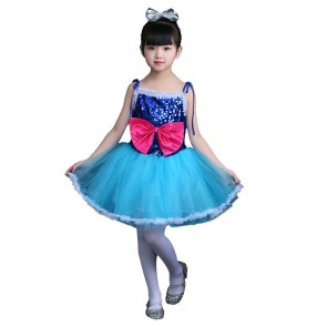 Jazz singers dance dresses for girls kids children turquoise paillette stage performance competition flower girls cosplay outfits