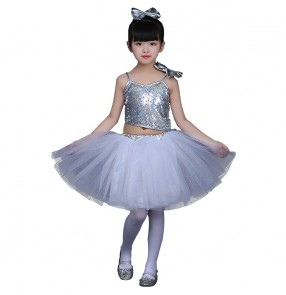 Modern dance outfits for girls kids children sequined princess flower silver green girls performance jazz singers chorus  dancing dresses