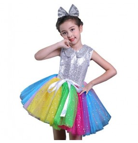 Girls modern dance singers dresses sequined silver dj jazz kids toddles school competition outfits