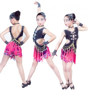 Girls latin dresses for kids children fuchsia black tassels stage performance competition salsa chacha rumba outfits