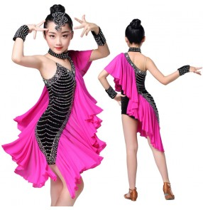 Girls latin dresses for kids children pink black stage performance rhinestones competition chacha salsa dresses outfits