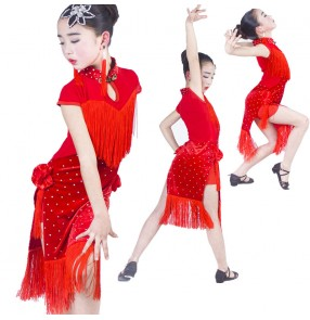 Girls latin dresses for competition red velvet fringes diamond stage performance salsa rumba chacha latin dress