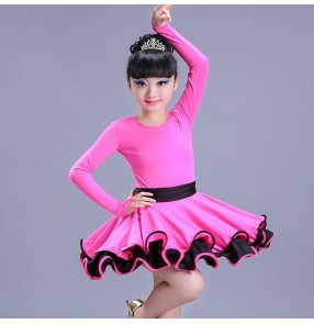 Girls latin dress for kids children pink black red stage performance gymnastics latin salsa chacha dance dresses