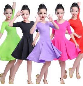 Girl's latin dress for kids children stage performance competition pink red green gymnastics ballroom dresses