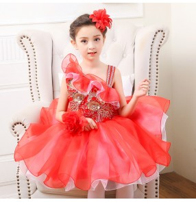 kids jazz dance dress for girls red pink blue gold Abito da ballo jazz per bambini Robe de danse moderne pour enfants
