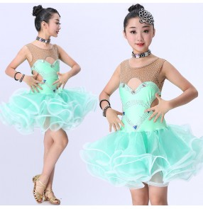 Girl's latin dress Robes latines de la fille for kids children mint diamond competition dresses Vestito latino per bambini