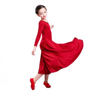 kids modern dance ballet dress for girls red wine  stage performance Vestito da balletto moderno per bambini competition modern dance long ballet dress