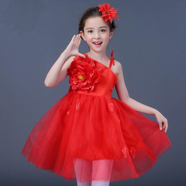 0e1d337ded6a Girls jazz dance dress for kids children pink yellow red petal modern dance  ballet singers chorus dancing dresses Vestito jazz per bambini