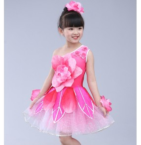 Kids jazz dance dress petals pink modern dance singers chorus performance costumes Vestito da bambino jazz
