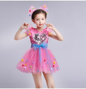 Kids jazz dance dress for girls robe de danse jazz pour enfants pink white blue green modern dance performance chorus dresses