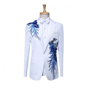 Men's singers dance blazers blazers de chanteurs pour hommes performance male white blue chorus competition host dancing cosplay coat  pants