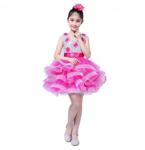 Girls jazz dance dresses for kids children  blue pink yellow sequined modern dance singers school performance dress