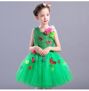 Children jazz dance dress robe de danse jazz sequined bling modern dance performance princess chorus dancing outfits