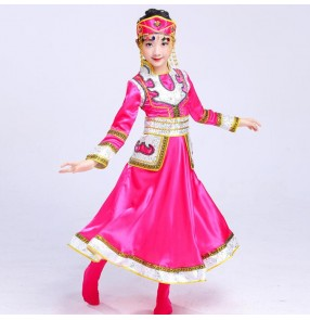 Girl's Mongolian folk dance dress blue red pink competition stage performance cosplay minority dance robes costumes