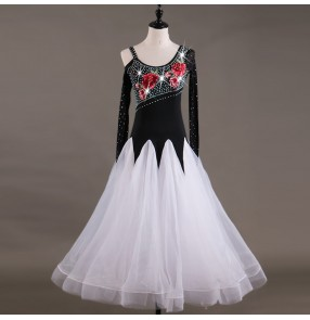 Ballroom dance dress for female lady women's diamond black and white long length competition waltz tango dance dress