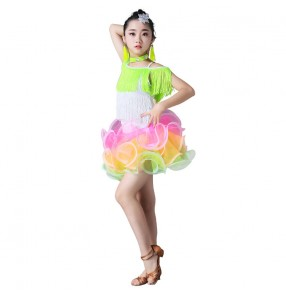 Girls competition latin dress kids children neon green pink white fringes performance ballrooms salsa dresses