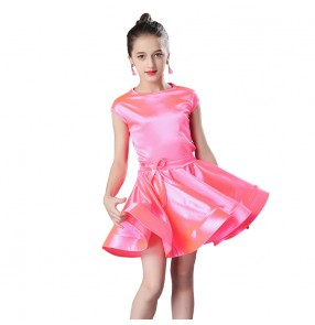 Girls competition latin dress performance stretchy satin dark green silver gold pink ballroom salsa rumba dance dress
