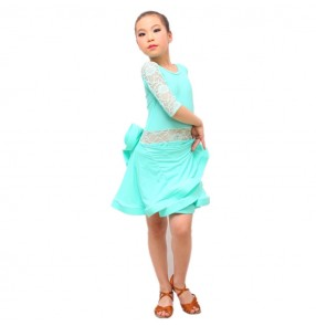Girls competition latin dress for kids children mint black lace stage performance ballroom salsa dance dress