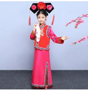 Girls Chinese folk dance costumes ancient performance photos animate film cosplay qing dynasty princess robes dress