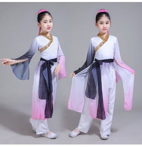 Kids Chinese folk dance costumes for children girls traditional ancient film gradient color fairy hanfu anime cosplay dresses