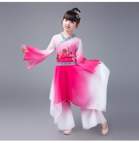 Girls Chinese folk dance dress kids children pink blue green traditional ancient film cosplay fairy kimono dance costumes