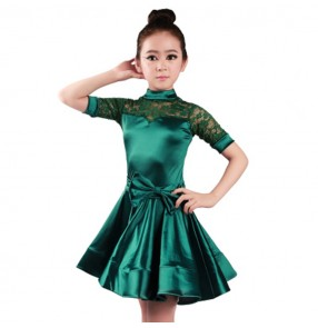 Girls latin dress for kids children performance competition lace dark green gold sliver satin short sleeves ballroom dresses