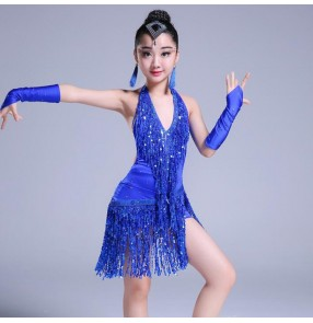 Kids latin dress for girls children purple white royal blue fringes paillette competition performance latin dancing dress