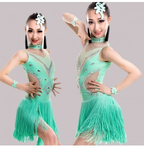 Girls latin dress competition stage kids children mint pink black performance fringes ballroom salsa chacha latin dance dresses