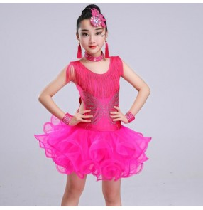 Kids latin dress for girl's diamond competition stage performance ballroom salsa chacha dance dresses