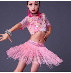 Pink girls latin dress for kids children white competition sequined diamond competition performance latin dancing dresses