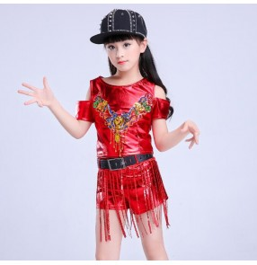 Girls hiphop jazz dance outfits for kids gold silver red pink school competition cheer leaders hiphop modern dance costumes