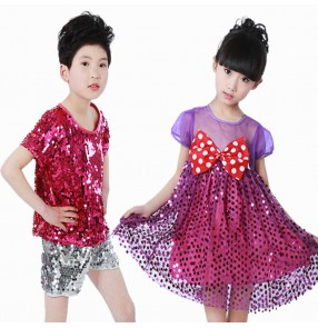 Jazz dance costumes for girls boys pink silver sequined modern dance cheer leaders hiphop school performance outfits