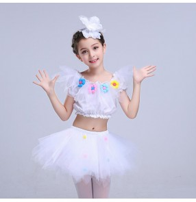 Kids jazz dance dress for girls white performance ballet modern dance cheerleaders performance outfits