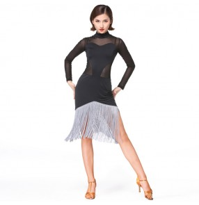 Women's latin dress for female competition black stage performance ballroom salsa chacha dance dresses