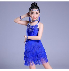 Girls latin dress for children red black royal blue white competition performance salsa chacha rumba dance dresses