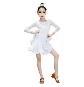 latin dress for girl's white mint ballroom dress lace stage performance professional latin salsa chacha rumba dance dress