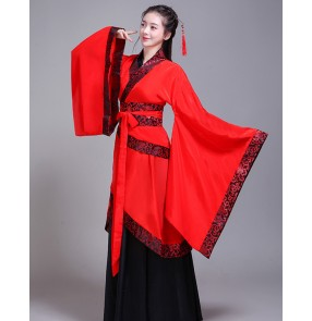 Women's chinese folk dance costumes red hanfu ancient traditional film drama cosplay kimono handbook performance dress robes