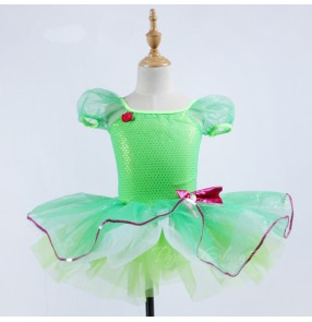 Kids ballet tutu dress for girls children neon green paillette professional competition performance skating ballet dancing dresses