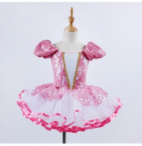 Ballet tutu skirt dress for girl's kids pink sequin performance competition professional skating dance ballet dancing leotards skirt dress