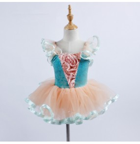 Ballet dance dress for girl's blue lace sleeves princess girls stage performance party cosplay leotards tutu skirt ballet dancing dresses