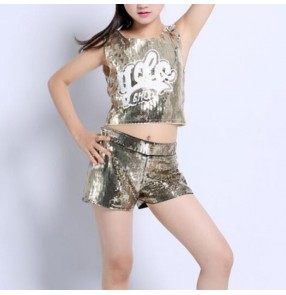 Girls hiphop street dance outfits silver gold red blue paillette performance competition cheerleaders singers group dancers costumes