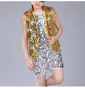 Boys jazz dance costumes gold royal blue paillette modern dance hipop dancers street dance school competition outfits