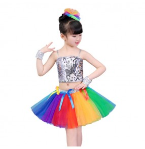 Rainbow street modern dance hiphop dance dresses girls kids children stage performance competition cheerleaders party cosplay outfits