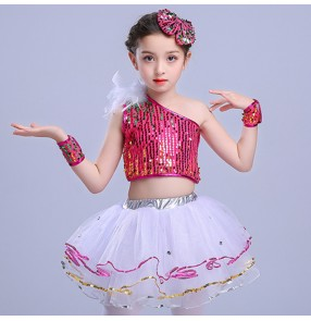 Girls jazz dance dress fuchsia blue paillette modern dance hiphop street dancing performance flower girls princess dance costumes
