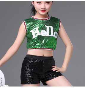 kids hiphop jazz dance outfits girls children silver red green modern dance school competition cheerleaders sequined costumes