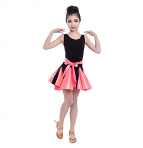 Girls latin performance dress kids children pink school competition salsa chacha rumba dance dresses outfits