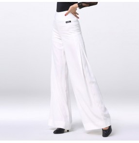 white women's ballroom dance pants latin salsa chacha rumba wide leg swing pants competition stage performance trousers