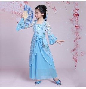 Girls traditional Chinese folk dance dresses fairy princess kimono hanfu drama anime cosplay performance competition costumes