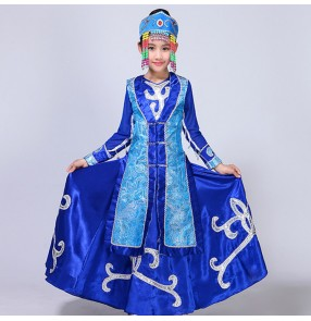 Kids Chinese folk dance dresses Mongolian minority stage performance anime film cosplay long robes costumes