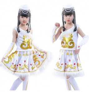 Girls Chinese folk dance costumes Mongolian white ethnic minority stage performance cosplay dresse